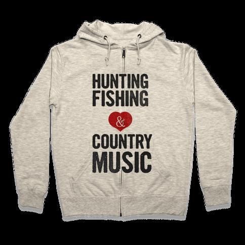 Hunting Fishing & Country Music (Womens) Zip Hoodie
