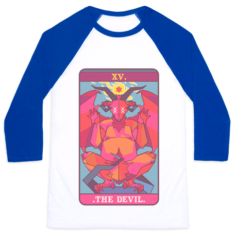 Devil Tarot Card Baseball Tee