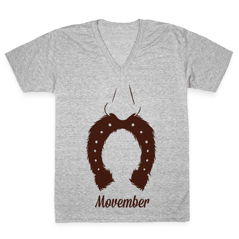 Horseshoe Mustache V-Neck Tee Shirt