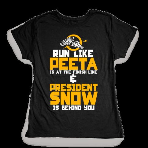 Run Like Peeta Is At The Finish Line Womens T-Shirt