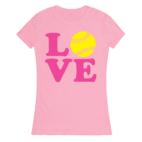 Love Softball Womens T-Shirt
