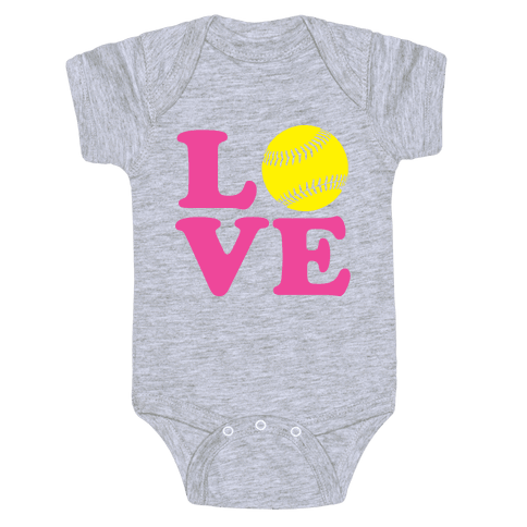 Love Softball Baby One-Piece