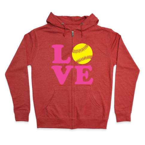 Love Softball Zip Hoodie
