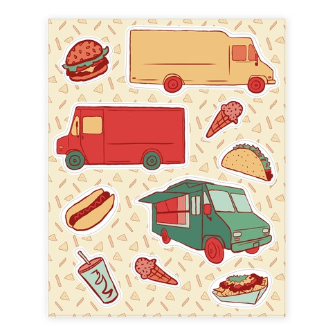 Food Truck Festival Sticker and Decal Sheet