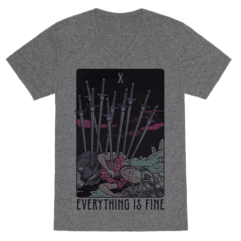 Ten Of Swords (Everything Is Fine) V-Neck Tee Shirt