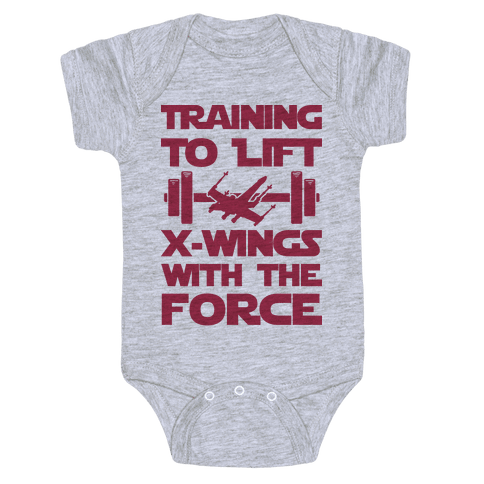 Training To Lift X-Wings With The Force Baby Onesy