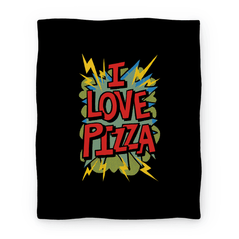 I Love Pizza Pop Art Blanket