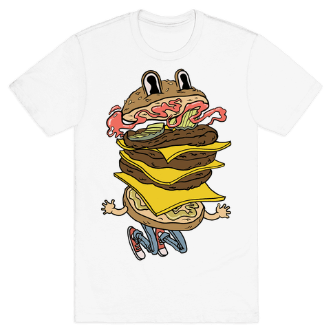 Triple Decker Burger Dude Mens T-Shirt
