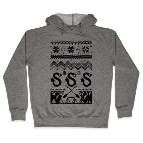 Hogwarts Ugly Christmas Sweater: Slytherin - Hooded Sweatshirt - HUMAN