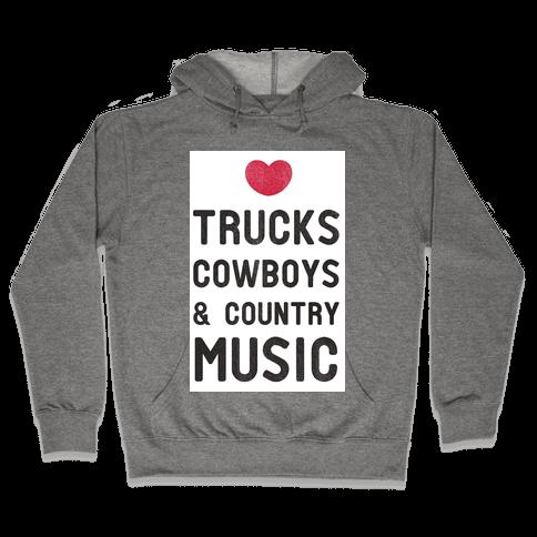 Trucks Cowboys & Country ( Baseball Tee) Hooded Sweatshirt