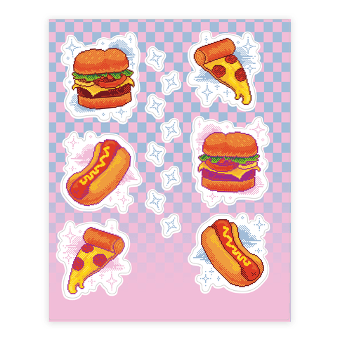 Pixel Junk Food  Sticker/Decal Sheet