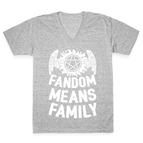 Fandom Means Family (Supernatural) V-Neck Tee Shirt