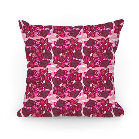 Pink Violet Floral Pattern Pillow (Cluster) Pillow