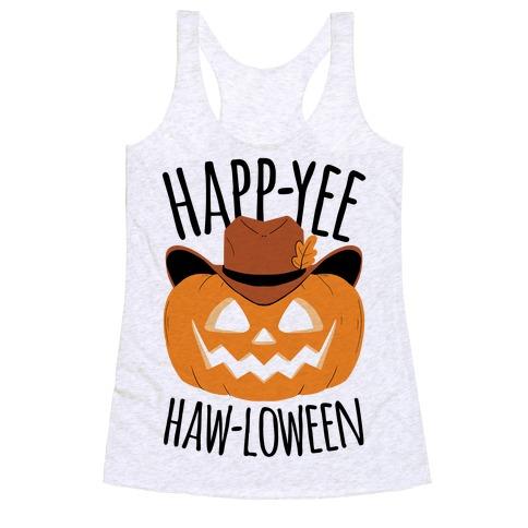 Happ-YEE HAW-loween Racerback Tank Top