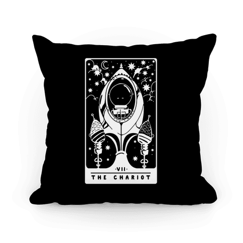 The Chariot Space Rocket Tarot Card Pillow