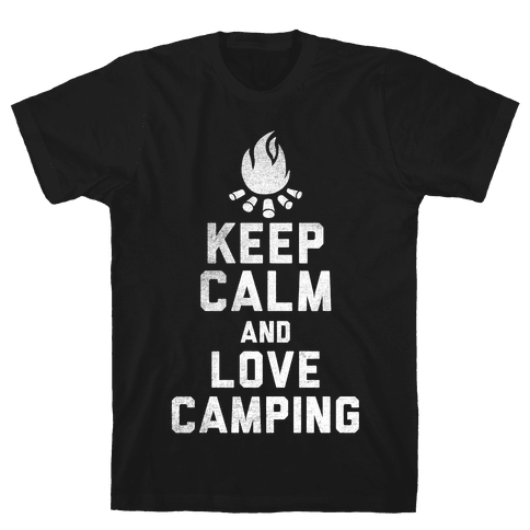 Keep Calm and Love Camping (White Ink) Mens T-Shirt