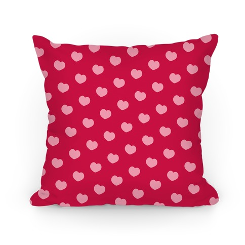 Red and Pink Polka Dot Hearts Pillow