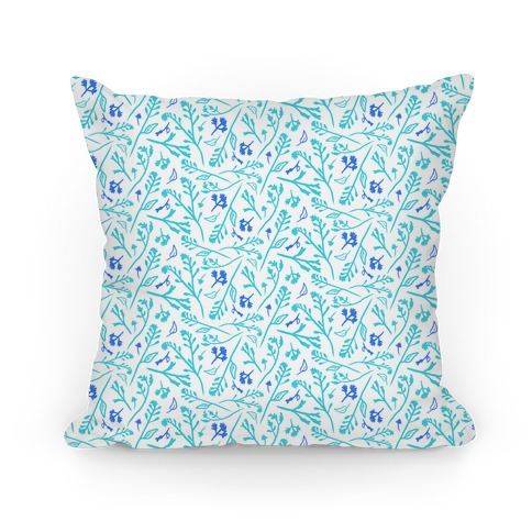 Lovely Wildflower Meadow Blue Pattern Pillow