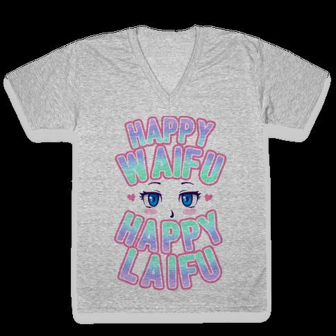 Happy Waifu Happy Laifu V-Neck Tee Shirt