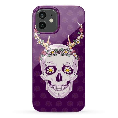 Flower Crown Skull Phone Case