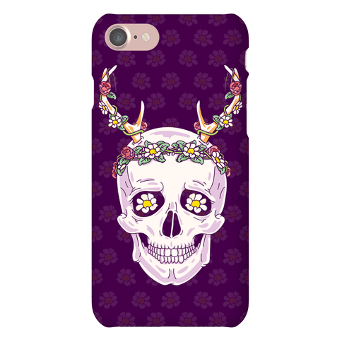 Flower Crown Skull Phone Case