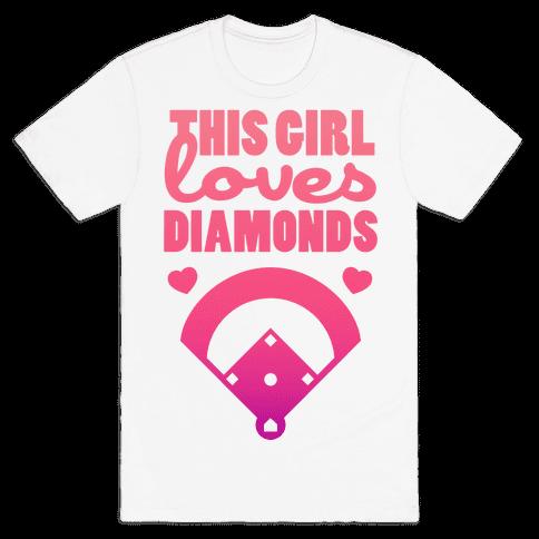 This Girl Loves (Baseball) Diamonds Mens T-Shirt