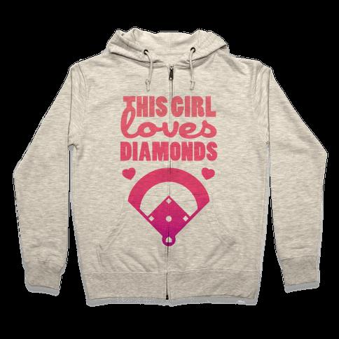 This Girl Loves (Baseball) Diamonds Zip Hoodie