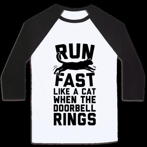 Run Fast Like A Cat Baseball Tee