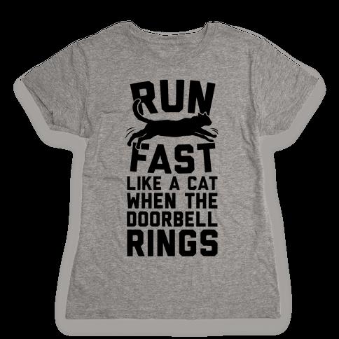 Run Fast Like A Cat Womens T-Shirt