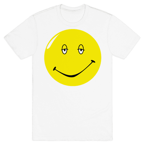 Dazed and Confused Stoner Smiley Face Mens T-Shirt