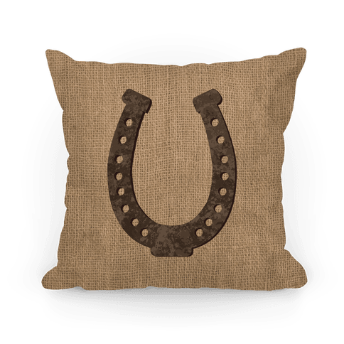Faux Burlap Horseshoe Pillow