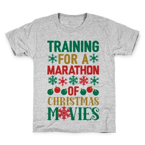 Training For A Marathon (Of Christmas Movies) Kids T-Shirt