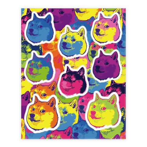 Pop Art Doge Sticker/Decal Sheet
