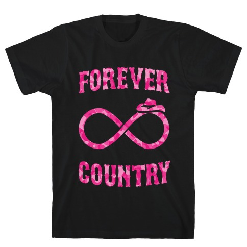 Forever Country (pink camo) Mens T-Shirt