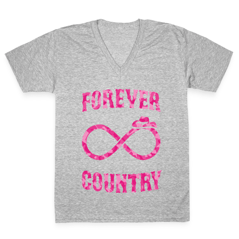 Forever Country (pink camo) V-Neck Tee Shirt