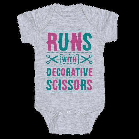 Runs With Decorative Scissors Baby Onesy