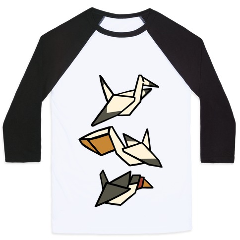Nautical Origami Seabirds Baseball Tee