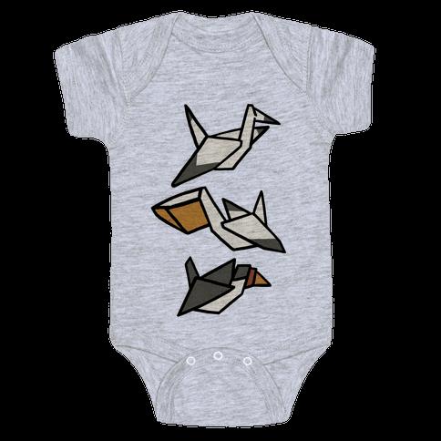 Nautical Origami Seabirds Baby Onesy
