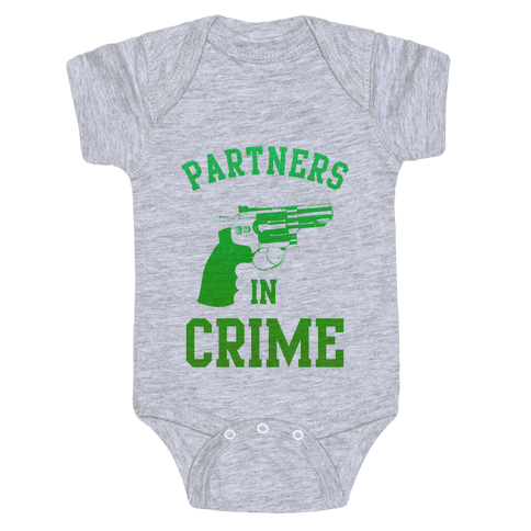 Partners in Crime (Green) Baby Onesy
