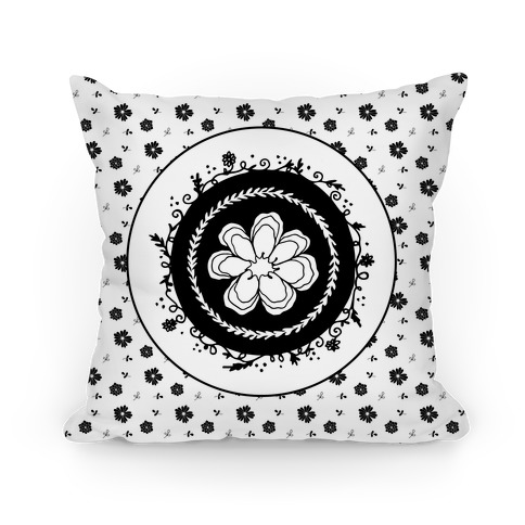 Springtime Floral Mandala (Black and White) Pillow
