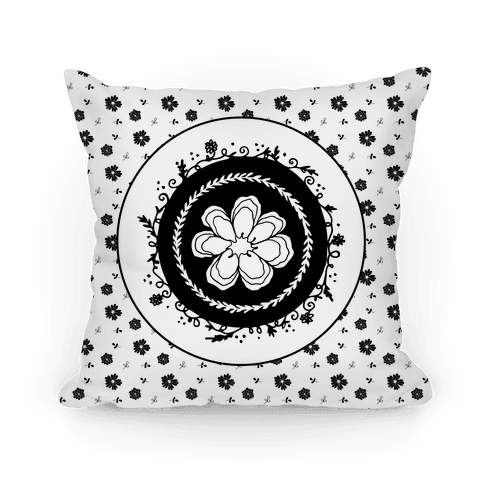 Springtime Floral Mandala (Black and White)