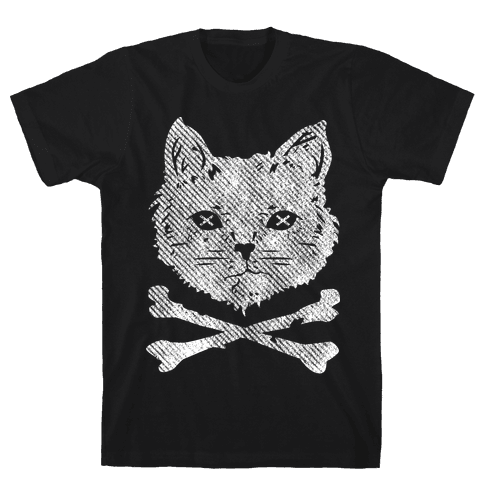 Cat and Cross Bones Mens T-Shirt