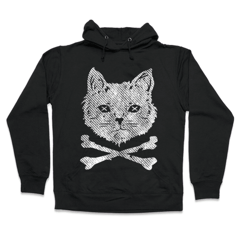 Cat and Cross Bones Hooded Sweatshirt