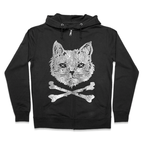 Cat and Cross Bones Zip Hoodie