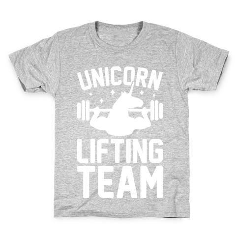 Unicorn Lifting Team (White) Kids T-Shirt