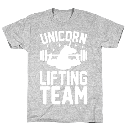 Unicorn Lifting Team (White) Mens T-Shirt