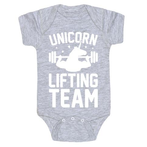 Unicorn Lifting Team (White) Baby Onesy