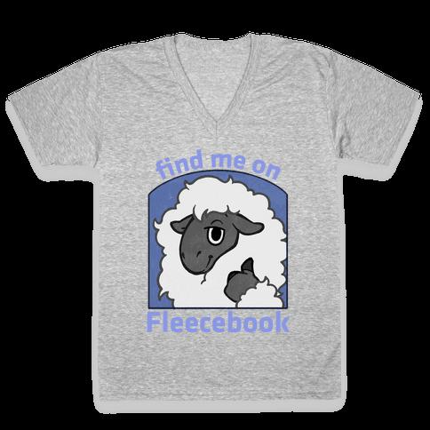 Find Me On Fleecebook V-Neck Tee Shirt