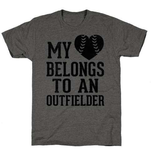 My Heart Belongs To An Outfielder (Baseball Tee) Mens T-Shirt