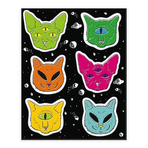 Alien Cat  Sticker/Decal Sheet